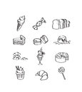 Mix hand draw set of dessert icon the Royalty Free Stock Photos