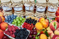 Mix of jams and fruits Royalty Free Stock Photo
