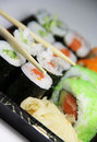 Mix of Japanese sushi and rolls Royalty Free Stock Photo