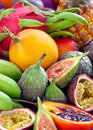 Mix many fresh tropical fruits Royalty Free Stock Photos
