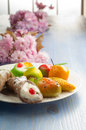 Mix of marzipan and ricotta cannolo Stock Images