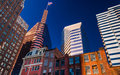 Mix of modern and old buildings in baltimore maryland looking up at a Stock Photos