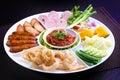 Mix northern thai food sai aua northern thai spicy sausage naem sour pork cab moo pork snack moo yor preserved pork sa nam Royalty Free Stock Photos