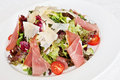 Mix salad with parma ham Royalty Free Stock Photo