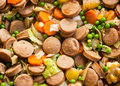 Mix sausage dish wonderful but simple with vegetables Stock Photos