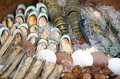 Mix seafood in wood buket with ice Royalty Free Stock Photo