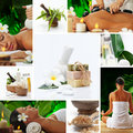 Mix spa theme photo collage composed of different images Stock Photos