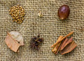 Mix spice on sack  background. Royalty Free Stock Photo