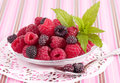 Mix tasty berries in plate Royalty Free Stock Photos