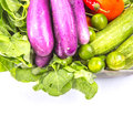 Mix tropical vegetables isolated iv in a steel container over white background Royalty Free Stock Images