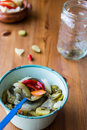 Mix of Turkish Pickles with green tomatoes, red pepper, cucumber and carrot. Royalty Free Stock Photo