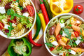 Mix of two pasta salad. Top view. Royalty Free Stock Photo