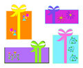 Mix of Wrapped Gifts and Bows Stock Photos