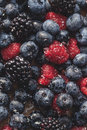 Mixed berries, blueberry, raspberry Royalty Free Stock Photo