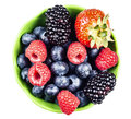 Mixed berries on white Royalty Free Stock Photo