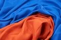 Mixed blue and orange silk fabrics Royalty Free Stock Photo