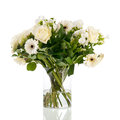 Mixed bouquet white flowers isolated over background Royalty Free Stock Photography