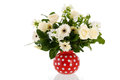 Mixed bouquet white flowers in red vase isolated over background Stock Image