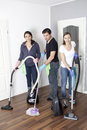 Mixed cleaning company Stock Photos