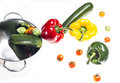 Mixed colorated peppers on white background Royalty Free Stock Photos