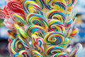 Mixed colorful fruit bonbon lollipops Royalty Free Stock Photo