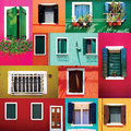 Mixed colorful windows wall and doors collection in burano building architecture venice italy Royalty Free Stock Image