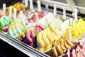 Mixed colourful gourmet ice cream sweet gelato in shop display Royalty Free Stock Photo