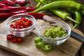 Mixed cutted Chilis (red and green) Royalty Free Stock Photo