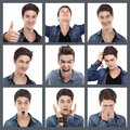 Mixed emotions young man multiple expression images on white Stock Photography