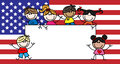 Mixed ethnic children american flag header or banner Stock Photography