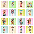 Mixed ethnic happy people on colorful paper tissue Royalty Free Stock Images