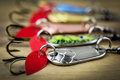Mixed fishing lure on wooden background Stock Photography