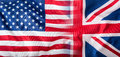 Mixed Flags of the USA and the UK. Union Jack flag Royalty Free Stock Photo