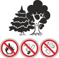 Mixed forest and prohibiting signs icons