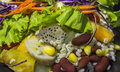 mixed of fresh salad and fruit Royalty Free Stock Photo