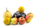 Mixed fruit with black bowl still life on white background Royalty Free Stock Photo