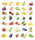 Mixed fruit illustration of on white background Stock Photos