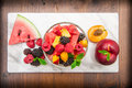 Mixed fruit salad with fresh fruit Royalty Free Stock Photo