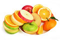 Mixed fruit slices fresh fruit salad apple pear orange and green apple Stock Photos