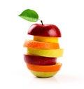 Mixed fruit slices isolated on white Royalty Free Stock Photo