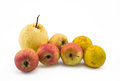Mixed fruit still life on white background Royalty Free Stock Photo
