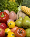 Mixed Fruit And Vegetables Royalty Free Stock Photo