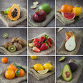 Mixed fruits collage photo composition of healthy Stock Images