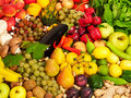 Mixed fruits and vegetables Stock Photos