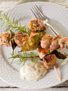 Mixed meat skewer on dish Stock Photography