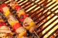 Mixed Meat And Vegetable Kebabs On The Hot BBQ Grill Royalty Free Stock Photo