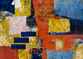 Mixed media abstract collage painting Royalty Free Stock Photo