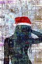 Mixed media contemporary fashion art Happy New Year and Merry Christmas collage. Beautiful girl in red Santa Claus hat Royalty Free Stock Photo