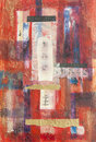 Mixed media layered abstract collage painting Stock Photo