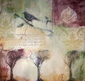 Mixed media painting with bird and trees Royalty Free Stock Images